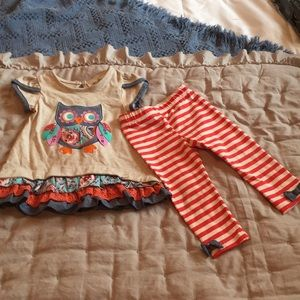 Rare Editions 12m Ruffle Owl outfit with bow pant